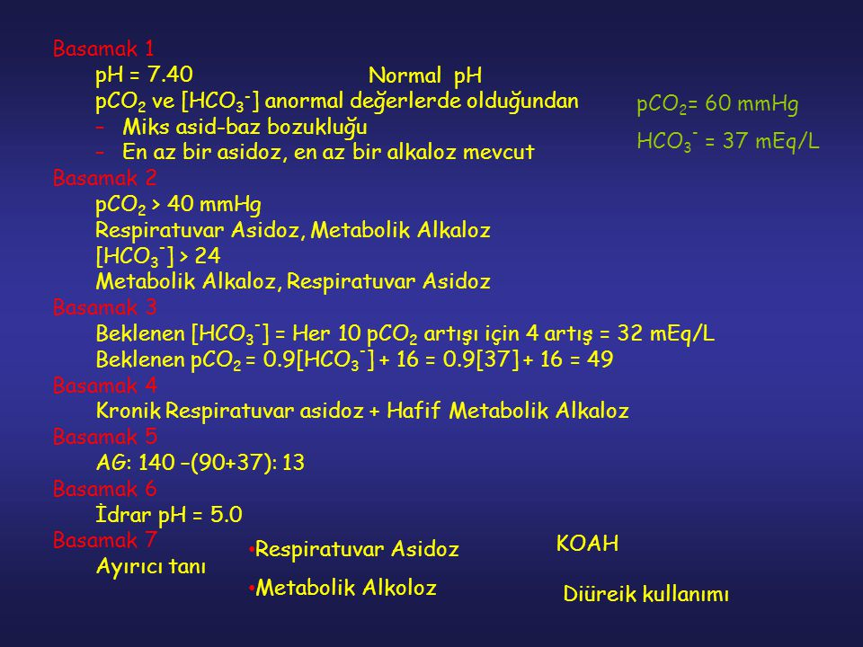 Basamak 1 pH = 7.40. pCO2 ve [HCO3-] anormal değerlerde olduğundan. Miks asid-baz bozukluğu. En az bir asidoz, en az bir alkaloz mevcut.